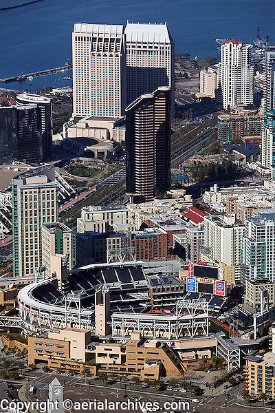 aerial view above Petco Park Padres stadium San Diego California