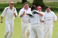 Jamie Went of Hornchurch is congratulated by wicket keeper Paul Murray after getting the wicket of Siddhardh Desai of Harold Wood - Harold Wood Cricket Club vs Hornchurch Cricket Club at Harold Wood 10/05/09 - MANDATORY CREDIT: Rob Newell/TGSPHOTO - IMAGES USED WILL BE INVOICED AT STANDARD RATES. Gavin Ellis/TGSPHOTO, 27 Plaiters Way, Braintree, Essex CM7 3LR - Tel: 0845 0946026 - BACS details for payment: Gavin Ellis - A/C 31840312 Sort Code 40-17-08. NO UNPAID USE..