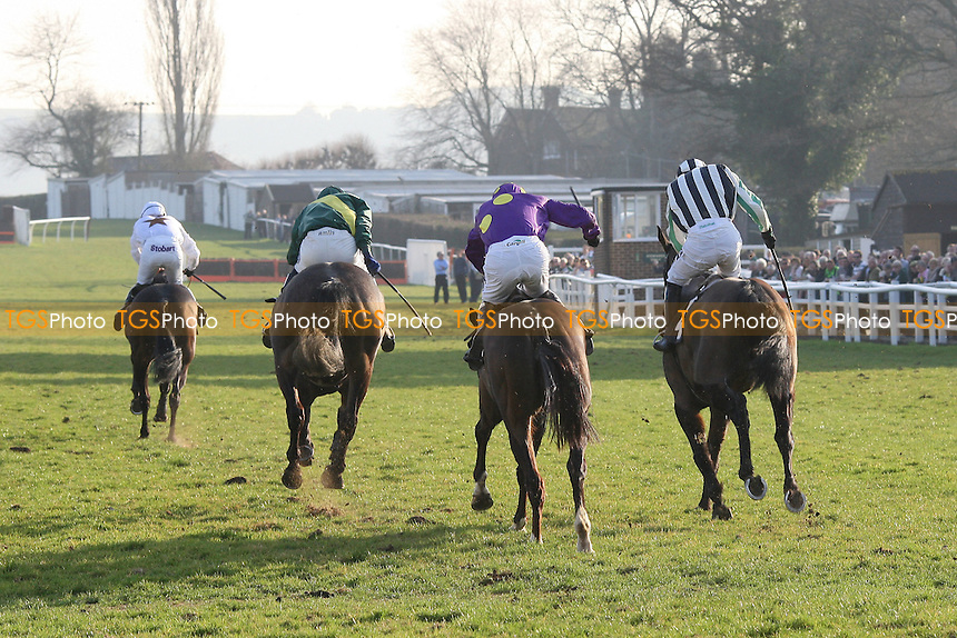 Race winner Nozic ridden by Gemma Gracey-Davison (L) on the way to the finish in the Plumpton Annual Members Handicap Chase - Horse Racing at Plumpton Racecourse, East Sussex - 12/03/12 - MANDATORY CREDIT: Gavin Ellis/TGSPHOTO - Self billing applies where appropriate - 0845 094 6026 - contact@tgsphoto.co.uk - NO UNPAID USE.