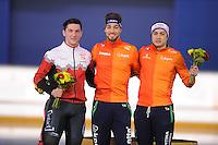 SPEEDSKATING: CALGARY: Olympic Oval, 25-02-2017, ISU World Sprint Championships, Podium 1000m Men, Vincent De Haitre (CAN), Kjeld Nuis (NED), Kai Verbij (NED), ©photo Martin de Jong