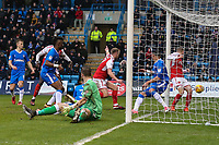 Paddy Madden of Fleetwood Town (centre) scores the opening goal of the game during the Sky Bet League 1 match between Gillingham and Fleetwood Town at the MEMS Priestfield Stadium, Gillingham, England on 27 January 2018. Photo by David Horn.