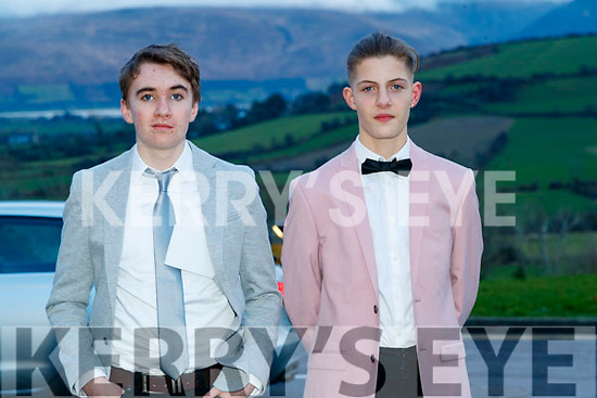 Sean Ó Loingsigh and Lennox Beaujouan, Gaelcholáiste Chiarraí, pictured at the TY Ball, at Ballyroe Heights Hotel, Tralee, on Saturday night last.