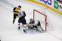 June 12, 2019: St. Louis Blues goaltender Jordan Binnington (50) stops a shot by Boston Bruins center David Krejci (46) during game 7 of the NHL Stanley Cup Finals between the St Louis Blues and the Boston Bruins held at TD Garden, in Boston, Mass. Eric Canha/CSM