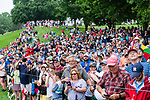 CROMWELL, CT. 20 June 2019-062019 - A very large gallery of fans looks on to watch the former Travelers champions of Phil Mickelson, Jordan Speith, and Marc Leishman tee off on the first hole, during the first round of the Travelers Championship at TPC River Highlands in Cromwell on Thursday. Bill Shettle Republican-American