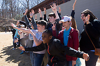 NWA Democrat-Gazette/CHARLIE KAIJO Students from Holy Family Cathedral School of Tulsa, Okla. take a group picture in front of the Bachman&acirc;&euro;&ldquo;Wilson House, Friday, March 2, 2018 at Crystal Bridges in Bentonvile.<br />