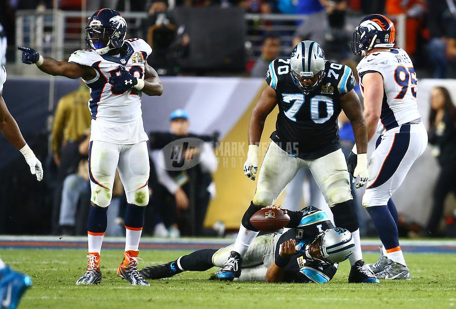 Feb 7, 2016; Santa Clara, CA, USA; Carolina Panthers quarterback Cam Newton (1) reacts on the ground after being sacked by Denver Broncos linebacker Danny Trevathan (59) during Super Bowl 50 at Levi's Stadium. Mandatory Credit: Mark J. Rebilas-USA TODAY Sports