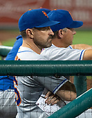 New York Mets manager Mickey Callaway (36) watches in the seventh inning against the Washington Nationals at Nationals Park in Washington, D.C. on Tuesday, July 31, 2018.  The Nationals won the game 25 - 4.<br /> Credit: Ron Sachs / CNP<br /> (RESTRICTION: NO New York or New Jersey Newspapers or newspapers within a 75 mile radius of New York City)