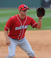 Third baseman Drew Hillman (8) of the Lakewood BlueClaws prior to a game against the Greenville Drive on the Drive's Opening Day, April 5, 2012, at Fluor Field at the West End in Greenville, South Carolina. (Tom Priddy/Four Seam Images)