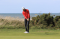 Matt Roberts from Wales on the 9th green during Round 2 Singles of the Men's Home Internationals 2018 at Conwy Golf Club, Conwy, Wales on Thursday 13th September 2018.<br /> Picture: Thos Caffrey / Golffile<br /> <br /> All photo usage must carry mandatory copyright credit (&copy; Golffile | Thos Caffrey)