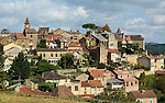 View of Belvès, a medieval town located on the Dordogne River in the Périgord region of France.