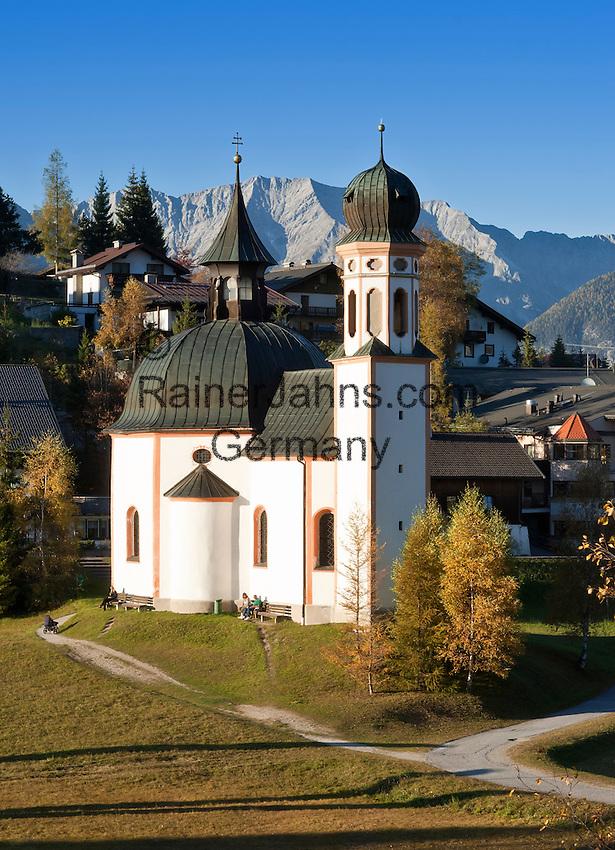 Austria, Tyrol, Seefeld in Tyrol: church Seekirchl, Wetterstein mountains | Oesterreich, Tirol, Seefeld in Tirol: Seekirchl, Wettersteingebirge
