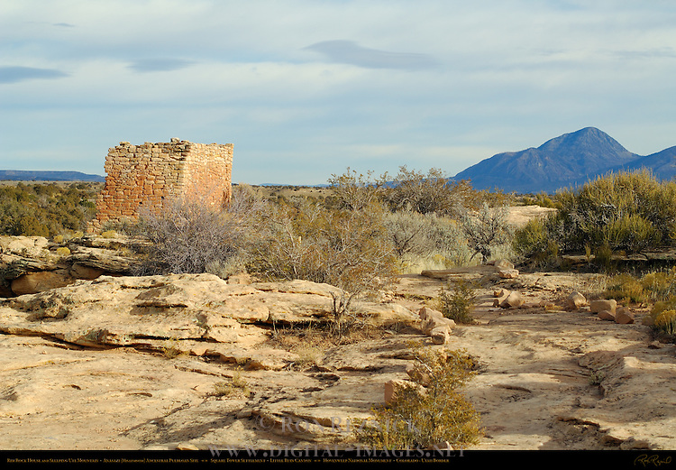 Rim Rock House and Sleeping Ute Mountain, Anasazi Hisatsinom Ancestral Puebloan Site, Square Tower Settlement, Little Ruin Canyon, Hovenweep National Monument, Colorado - Utah Border