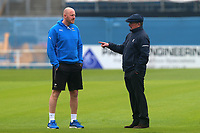 Umpire Ian Gould (R) in conversation with Andrew Gale of Yorkshire during Yorkshire CCC vs Essex CCC, Specsavers County Championship Division 1 Cricket at Emerald Headingley Cricket Ground on 13th April 2018