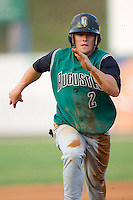 Shane Jordan (2) of the Augusta GreenJackets hustles towards third base at Fieldcrest Cannon Stadium in Kannapolis, NC, Wednesday August 20, 2008. (Photo by Brian Westerholt / Four Seam Images)