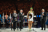 MELBOURNE, 28 JANUARY - Maria Sharapova (RUS) receives the runner's up trophy at the 2012 Australian Open at Melbourne Park, Australia. (Photo Sydney Low / syd-low.com)