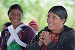 Vitalina Gomez Garcia (right) speaks during a workshop at an eco-agricultural training center in Comitancillo, Guatemala. The center is sponsored by the Maya Mam Association for Investigation and Development (AMMID). Behind her is Maria Aurelia Miranda.