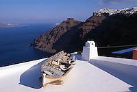 Hausdach in Firostefani, Insel Santorin (Santorini), Griechenland, Europa