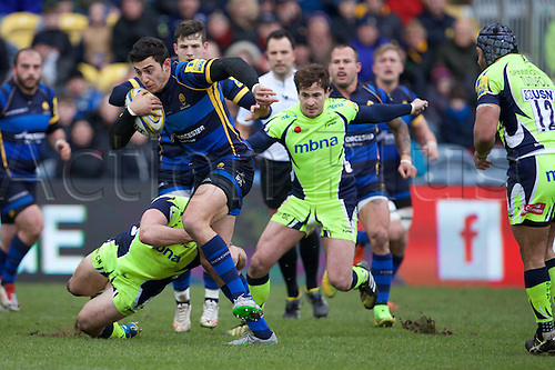 20.02.2016. Sixways Stadium, Worcester, England. Aviva Premiership. Worcester Warriors versus Sale Sharks. Worcester Warriors centre Wynand Olivier runs with the ball having got past Sale Sharks fly-half Danny Cipriani.