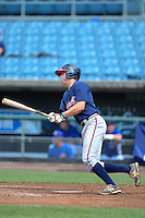 Outfielder Drew Wharton (15) of Peachtree Ridge High School in Suwanee, Georgia playing for the Atlanta Braves scout team during the East Coast Pro Showcase on August 2, 2013 at NBT Bank Stadium in Syracuse, New York.  (Mike Janes/Four Seam Images)