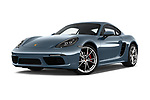 Stock pictures of low aggressive front three quarter view of a 2018 Porsche 718 Cayman S 2 Door Coupe