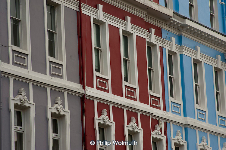 Painted houses in Colville Square, North Kensington.