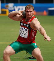 Yury Bialou  qualified for the finals of the shot put with a toss of 20.26m at the 11th. IAAF World Championships in Osaka, Japan on Saturday, August 25, 2007. Photo by Errol Anderson,The Sporting Image.