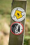 Pembrokeshire Coast path national trail footpath sign marker warning danger of cliffs