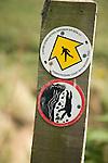 Pembrokeshire Coast path national trail footpath sign marker warning danger of cliffs