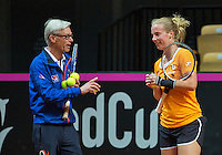 Arena Loire,  Trélazé,  France, 14 April, 2016, Semifinal FedCup, France-Netherlands, Dutch team warming up, Richel Hogenkamp and coach Martin Bohm<br /> Photo: Henk Koster/Tennisimages