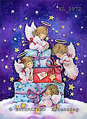 Interlitho, CHRISTMAS CHILDREN, paintings,+angels, presents, gifts,++++,4 angel,gifts,cloud,KL5972,#XK# Engel, angeles