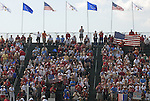 The gallery behind the 1st tee during the Singles on the Final Day of the Ryder Cup at Valhalla Golf Club, Louisville, Kentucky, USA, 21st September 2008 (Photo by Eoin Clarke/GOLFFILE)