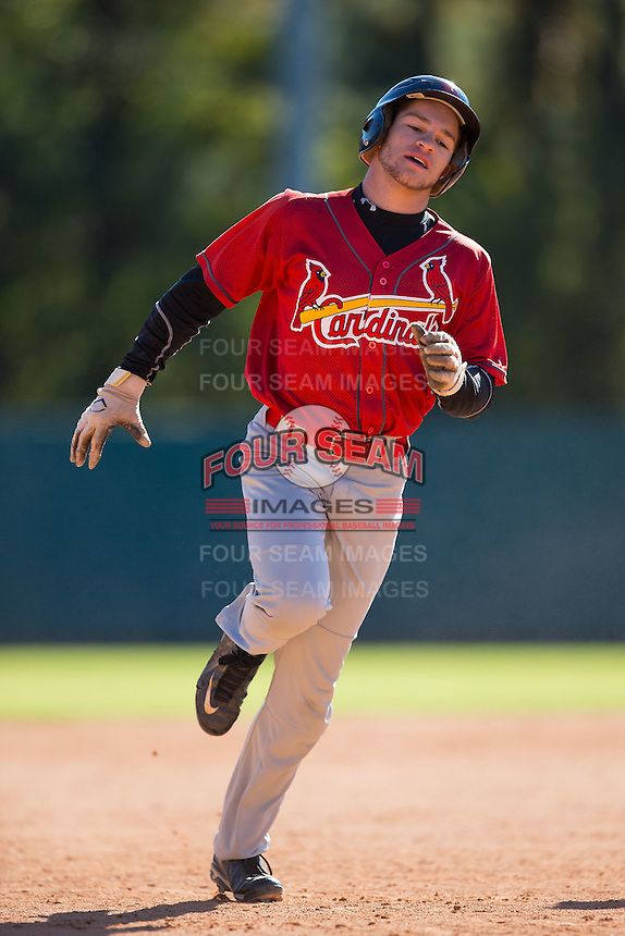 Frank Vesuvio (4) of Byram Hills High School in Armonk, New York playing for the St. Louis Cardinals scout team at the South Atlantic Border Battle at Doak Field on November 2, 2014.  (Brian Westerholt/Four Seam Images)