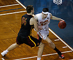 SIOUX FALLS, SD: MARCH 24:  Zach Hankins #35 of Ferris State drives around Carter Evans #54 during their game at the 2018 Division II Men's Basketball Championship at the Sanford Pentagon in Sioux Falls, S.D. (Photo by Dick Carlson/Inertia)