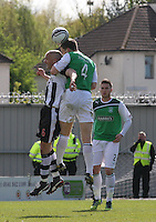 Jim Goodwin (left) and Paul Hanlon in an aerial duel in the St Mirren v Hibernian Clydesdale Bank Scottish Premier League match played at St Mirren Park, Paisley on 29.4.12.