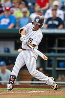 Mississippi State outfielder CT Bradford (10) swings the bat during Game 1 of the 2013 Men's College World Series Finals against the UCLA Bruins on June 24, 2013 at TD Ameritrade Park in Omaha, Nebraska. The Bruins defeated the Bulldogs 3-1, taking a 1-0 lead in the best of 3 series. (Andrew Woolley/Four Seam Images)