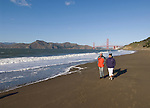 San Francisco: Baker Beach with Golden Gate Bridge in background.  Photo # 2-casanf76341.  Photo copyright Lee Foster