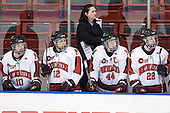 Colleen Murphy (Northeastern - 10), Sonia St. Martin (Northeastern - 12), Linda Lundrigan (Northeastern - Assistant Coach), Stephanie Gavronsky (Northeastern - 44), Maggie Brennolt (Northeastern - 22) - The Northeastern University Huskies defeated the visiting Clarkson University Golden Knights 5-2 on Thursday, January 5, 2012, at Matthews Arena in Boston, Massachusetts.