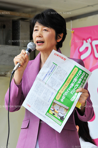 May 25th, 2013 : Tokyo, Japan - Tomoko Kami, a member of House of Councilors from Japanese Communist Party, had a speech during a demonstration against Trans-Pacific Strategic Economic Partnership Agreement, or TPP, at Shiba Park, Minato, Tokyo, Japan on May 25, 2013. According to a demonstration authority, there were more than 2,000 people showed up from all over the nation. (Photo by Koichiro Suzuki/AFLO)