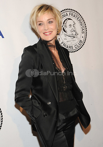 New York, NY- October 7:  Actress Sharon Stone attends the Friars Foundation Gala honoring Robert De Niro and Carlos Slim at the Waldorf-Astoria on October 7, 2014 in New York City. Credit: John Palmer/MediaPunch