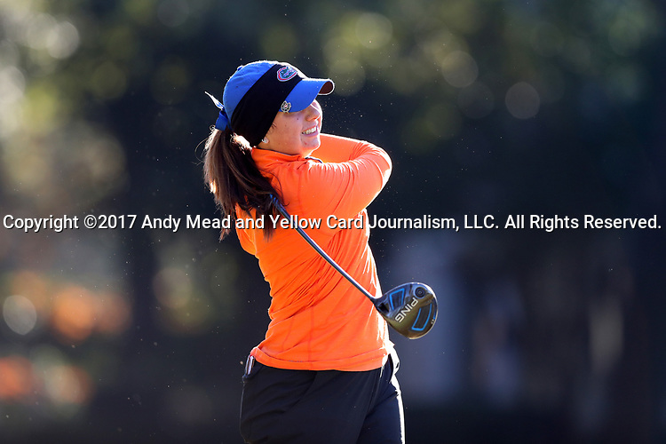 WILMINGTON, NC - OCTOBER 27: Florida's Carlotta Ricolfi (ITA) on the 12th tee. The first round of the Landfall Tradition Women's Golf Tournament was held on October 27, 2017 at the Pete Dye Course at the Country Club of Landfall in Wilmington, NC.