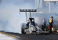 Feb. 22, 2013; Chandler, AZ, USA; NHRA top fuel dragster driver Shawn Langdon during qualifying for the Arizona Nationals at Firebird International Raceway. Mandatory Credit: Mark J. Rebilas-