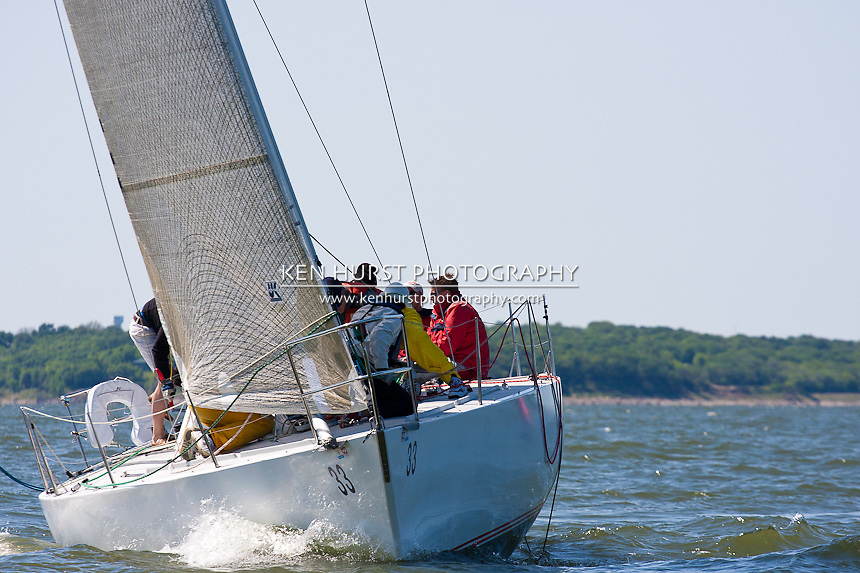 Godspeed, a Beneteau 39 IOR 1 ton, racing at Texoma Sailing Club Lakefest Regatta 2011, 25th annual charity regatta at Lake Texoma, Denison, Texas.