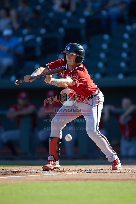 Logan Brown (99) of the Rome Braves lays down a bunt against the Columbia Fireflies at Segra Park on May 13, 2019 in Columbia, South Carolina. The Fireflies walked-off the Braves 2-1 in game one of a doubleheader. (Brian Westerholt/Four Seam Images)