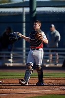 Colby Marchant during the Under Armour All-America Pre-Season Tournament, powered by Baseball Factory, on January 19, 2019 at Sloan Park in Mesa, Arizona.  Colby Marchant is a catcher / outfielder from Hazlehurst, Georgia who attends Jeff Davis High School.  (Mike Janes/Four Seam Images)