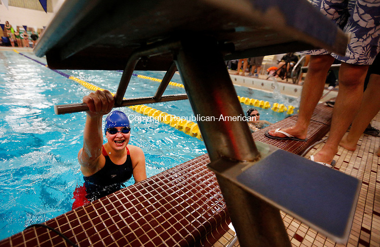 Waterbury, CT- 06 November 2015-110615CM10-  Seymour's Sierra Cripps is all smiles after winning the girls 50 yard freestyle during the NVL swimming and diving championships at Kennedy High School in Waterbury on Friday.   Christopher Massa Republican-American