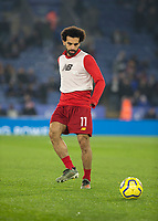 26th December 2019; King Power Stadium, Leicester, Midlands, England; English Premier League Football, Leicester City versus Liverpool; Mohamed Salah of Liverpool with the ball at his feet during the match warm up - Strictly Editorial Use Only. No use with unauthorized audio, video, data, fixture lists, club/league logos or 'live' services. Online in-match use limited to 120 images, no video emulation. No use in betting, games or single club/league/player publications