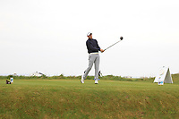 Robert Brazill (Naas) on the 1st tee during Round 1of the Flogas Irish Amateur Open Championship 2019 at the Co.Sligo Golf Club, Rosses Point, Sligo, Ireland. 16/05/19<br /> <br /> Picture: Thos Caffrey / Golffile<br /> <br /> All photos usage must carry mandatory copyright credit (© Golffile | Thos Caffrey)