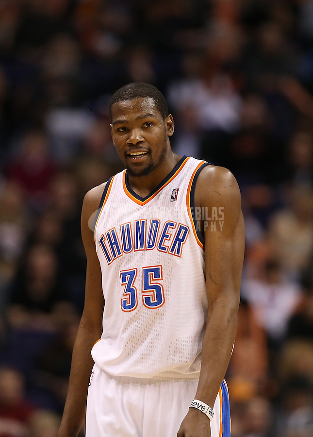 Feb. 10, 2013; Phoenix, AZ, USA: Oklahoma City Thunder forward Kevin Durant (35) against the Phoenix Suns at the US Airways Center. Mandatory Credit: Mark J. Rebilas-