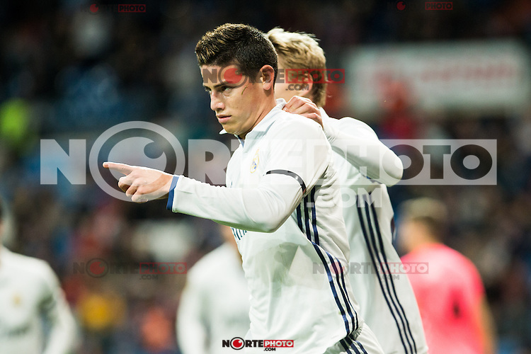"Real Madrid's Martin Odegaard,  James Rodriguez during the match of ""Copa del Rey"" between Real Madrid and Cultural Leonesa at Santiago Bernabeu Stadium in Madrid, Spain. November 29, 2016. (ALTERPHOTOS/Rodrigo Jimenez) /NORTEPHOTO.COM"