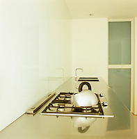 A narrow kitchen consists of two parallel blocks of cupboards with stainless steel worktops; one is a seamless plane, the other contains a hob and two sinks